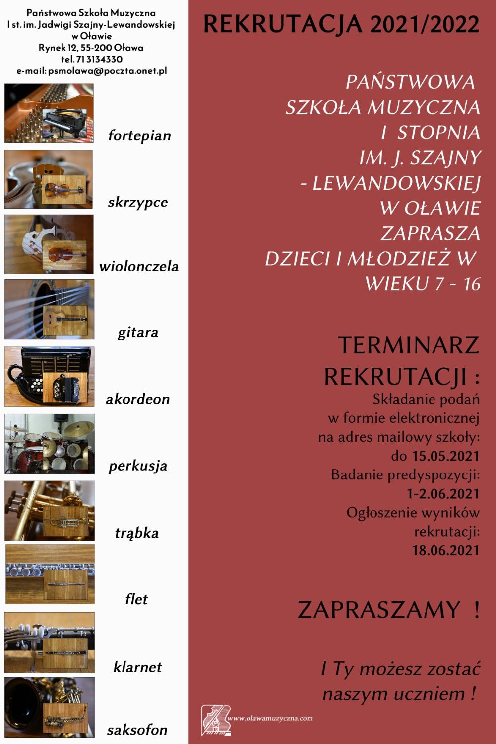 Plakat rekrutacyjny- Szkoła muzyczna
